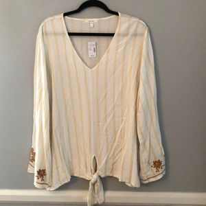 New Maurice's Ivory Striped Tie Blouse